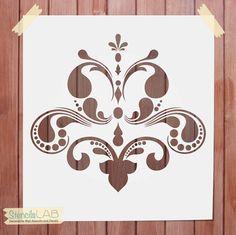 Plantilla Damasco para la decoración de la pared - diseño Original de la plantilla reutilizable