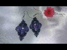Серьги с фиолетовыми бусинами-cercei cu mergele violete - YouTube