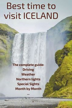 Best time to visit Iceland - the complete guide - get all the info about weather driving conditions northern lights special sights such as lupins puffins whales ice caves etc - Plus a month by month pros and cons: Places To Travel, Places To See, Travel Destinations, Northern Lights Iceland, Iceland Adventures, Iceland Travel Tips, Reisen In Europa, Voyage Europe, Future Travel