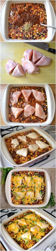 Salsa Chicken Casserole (main ingredients beside chicken - salsa, corn, black beans, rice, chicken broth, chili powder, cheese)