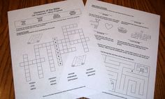 Worksheet Review for every section of the Bible - 20 printable worksheets total, all 100% free.