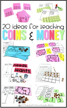 20 Ideas for Teaching Coins & Money (from Tunstall's Teaching Tidbits) First Grade Lessons, Second Grade Math, Math Lessons, Third Grade, Math Skills, Grade 1, Teaching Money, Student Teaching, Teaching Ideas
