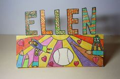 Students use markers and crayons, or coloured pencils to create a nameplate that communicates ideas about who they are, and then use the nameplates to introduce themselves to their classmates. Coloured Pencils, Classroom Resources, Getting To Know You, Back To School, Students, Symbols, Teacher, Letters, Inspiration