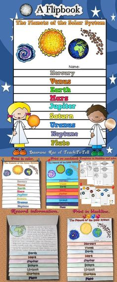 Your students will have as much fun as mine did in assembling this flipbook featuring the nine planets of the solar system.   WHAT'S INCLUDED: * Flipbook templates in blackline to print. * Flipbook templates in color to print.