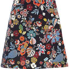 Woven fabric Floral print Pelmet skirt Back zip fastening