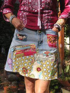 Custom Jean Skirt for you - Hippie Boho denim patch work recycled retro jeans coachella festival Jean Hippie, Hippie Jeans, Hippie Boho, Altered Couture, Jean Rapiécé, Jeans Recycling, Diy Mode, Denim Ideas, Patchwork Jeans