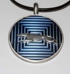Blue Enamel w SP Stretch Running Greyhound Dog Pendant by suebero