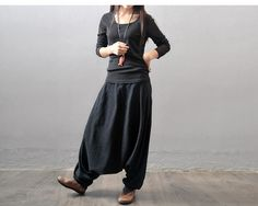 Women casual loose fitting pants autumn and winter cotton linen pants - Buykud