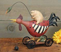 Pig Riding Rooster Figurine – Everyday Folk Art Figurines & Collectibles – Williraye Studio $45.00