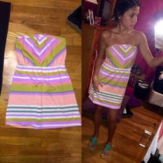 🆕Strapless Striped Dress! NWOT Brand new without tags never worn! Coral pink white purple green and gray in design super unique and comfy t shirt material! Size xs can also fit a small brand is mossimo Charlotte Russe Dresses Strapless