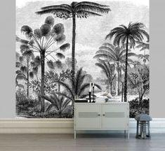 Papier Peint Panoramique : Les 10 Marques à Connaître Botanical Interior, Tropical Interior, Lcd Unit Design, Palm Trees Landscaping, Poster Mural, Modern Tv Wall, Tv Wall Decor, Widescreen Wallpaper, Salon Design