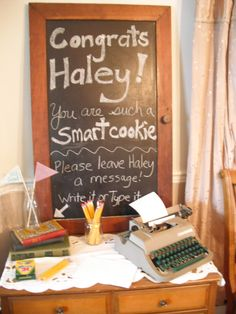 graduation party idea with vintage typewriter
