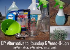 We all hate weeds but don't like to use harsh chemicals like RoundUp or Weed-B-Gon. See our homemade alternative that is safe yet effective to use.