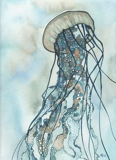 Jellyfish III - print in turquoise blue green earth tones painting, amazing whimsy bubble world home wall decor, with tentacle extensions によく似た商品を Etsy で探す Watercolor Ocean, Watercolor Artwork, Watercolour, Tattoo Watercolor, Watercolor Jellyfish, Art And Illustration, Fine Art Amerika, Art Blue, Jellyfish Art