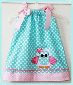 Custom Super Cute Whimsical Owl Applique Dress by weewhimsycouture, Owl Applique, Applique Dress, Little Girl Dresses, Little Girls, Girls Dresses, Owl Dress, Baby Dress, Sewing For Kids, Baby Sewing