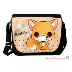 "This design features a cute little fox with kawaii icecream on beige background with polka dots.  PRODUCT INFORMATION:  - Measures 14""L x 4.8""W x 12""H inches - Image imprinted on durable polyester fabric using dye sublimation process to ensure everlasting effect - Made of black nylon - Sin..."