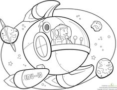 Kindergarten Vehicles Worksheets: Spaceship Coloring Page