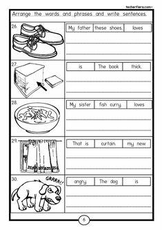 Grade 1 English, Kids English, English Lessons, Learn English, English Grammar Worksheets, 1st Grade Worksheets, Reading Worksheets, School Worksheets, Preschool Writing