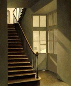 Light of the Lodge - Anne Françoise Couloumy. Dramatic Lighting, Stair Steps, Urban Architecture, Empty Room, Art Moderne, Art For Art Sake, Room Paint, Logs, Interior Paint