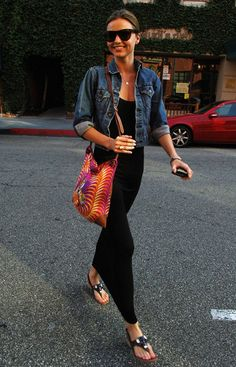 black maxi dress, jean jacket, dark glasses