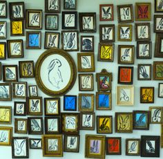 Inspired by Hunt Slonem's wall of rabbit drawings encased by vintage frames. Got picture from @Studio360