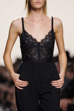 <3 @benitathediva   Elie Saab Spring 2014 - All black outfit, lace spaghetti strap top.