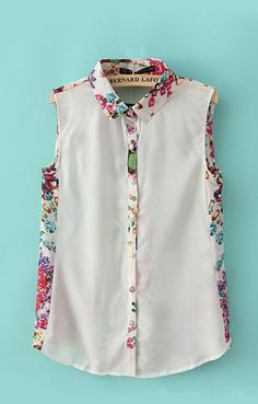 Lapel Sleeveless Chiffon Jewel Print Blouse | 6KS