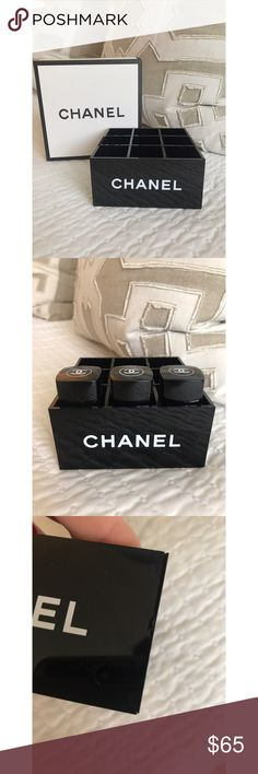 Chanel VIP Makeup Organizer Chanel VIP Makeup Organizer! It does have a small hairline crack in the front right that is not very noticeable and does not hinder the integrity of the item. Holds Chanel nail polish or lipstick. CHANEL Makeup