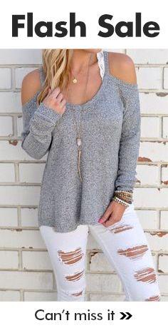 $23.99 Fashion Style Off Shoulder Grey Sweater http://bellanblue.com