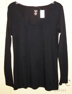 Dots NEW Solid Black Scoop Neck Top Long Sleeve Stretch XL 1X Layering Tee