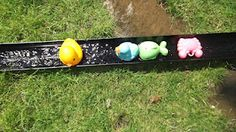Glorious Guttering-frugal fun.  Ideas included a water way, hot wheels race track, balance beam & even a live snail race track.  I love imagination!