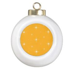 Yellow & White Bright Stars Christmas Ornaments