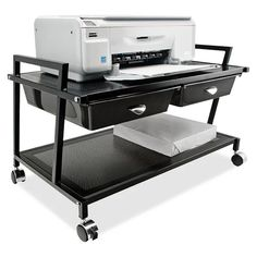 Top premium Mobile Printer Stand with Drawer By Vertiflex Printer Cart, Printer Stand, Office Furniture, Office Decor, Mobile Printer, Printer Supplies, Metal Drawers, Working Area, Filing Cabinet