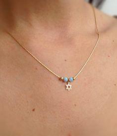 Gold necklace opal necklacestar of david necklace 14k by Avnis, $28.00