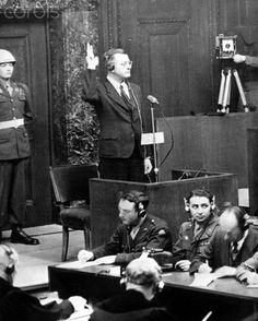 Erich von dem Bach-Zelewski, former SS Obergruppenführer and general of the police, is sworn in as victim in the Nuremberg War Crimes Trials, on 7 January 1946.
