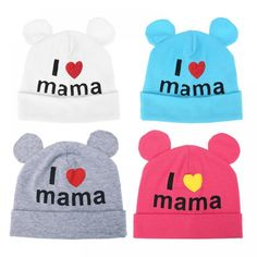 Love Mom Printed Cute Bear Ears Baby Hat  Price: $ 8.99 & FREE Shipping   #freeshipping #artsupply #drawing #draw #drawingpad #highquality #paintcolor #artisticly #cheap #worldwide #kid #kids #baby #babies #fun #cutebaby #happychild #happybaby