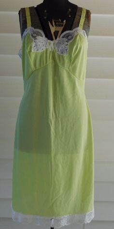 Vintage Lingerie Lime Green Full Slip White Lace Accents by Baronet by VintageToThrill on Etsy https://www.etsy.com/listing/463389556/vintage-lingerie-lime-green-full-slip