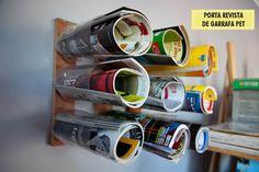 Magazine holder made of PET bottles.
