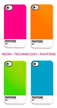 Neon-Pantone-Design-Crush - I know too many designers and Apple addicts who are going to or have flipped over this! http://store.apple.com/us/product/H9469ZM/A/case-scenario-pantone-universe-case-for-iphone-4s