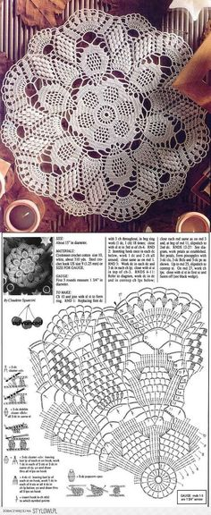 Kira scheme crochet: Scheme crochet no. Crochet Mat, Crochet Doily Diagram, Crochet Dollies, Crochet Doily Patterns, Crochet Home, Thread Crochet, Filet Crochet, Crochet Designs, Crochet Tablecloth