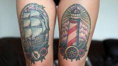 Katrin Berndt's thigh tattoos
