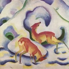 Snow What? BLOGGING about SNOW? Stop by with a linked comment - at Simply Snickers. (Artwork: Franz Marc, c1900)
