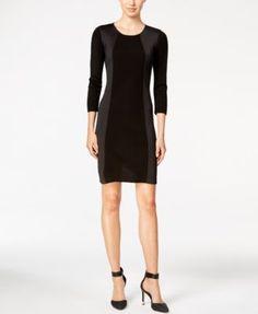 Calvin Klein Scuba-Trim Sweater Dress
