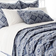 Pine Cone Hill | Ramala Indigo Duvet Cover | Enzyme washed for softness and a distressed, vintage look, this duvet cover bears a gorgeously intricate Indian-inspired pattern. Variations in color are expected.