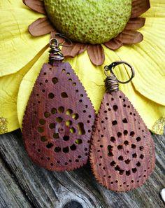 Wood carved teardrop earrings. Wire. Leverback ear wire. Bohemian, boho earrings, jewelry, wood jewelry, wood dangle earrings.