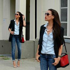 H&M Denim Chambray, Zara Bag, Adidas Watch, Zara Heels, Mango Sunglasses