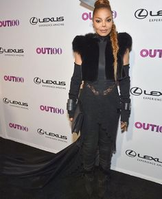The one and only Janet Jackson looking fierce in a haute avant-grade black pant ensemble with train. She received the Out Gala 100 2017 Icon Award.