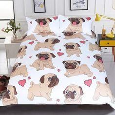 Buy BeddingOutlet Hippie Pug Bedding Set Queen Size Animal Cartoon Bed Set for Kids Cute Bulldog Print Duvet Cover Home Bedclothes . Cute Bedding, Linen Bedding, Bed Linens, Unique Bedding, Full Duvet Cover, Duvet Cover Sets, Pillow Covers, Set Cover, Duvet Insert
