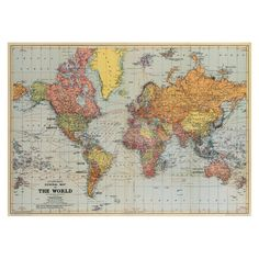"Poster or gift wrapping paper ""Vintage Map"" by Cavallini Papers & Co via Shabby Style."