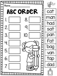 ... abc order cut and paste worksheets short a more alphabetical order